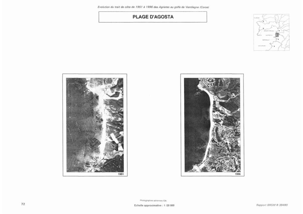 Cartographie comparative de l'évolution du trait de côte 1951 et 1996 : Rapport du BRGM R39480, page 72